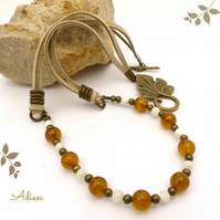 Yellow Tiger Eye and Mother of Pearl Necklace