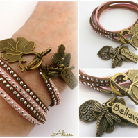 Brown and Pink Wrap Bracelet
