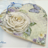 Vintage Rose Blue Heart Decoration