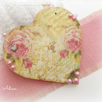 Vintage Rose Pink Heart Decoration