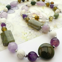 Purple and Green Mixed Gemstone Necklace