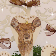 Christmas Reindeer Heart Decoration