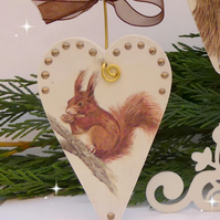 Squirrel Heart Decoration, Christmas Decoration