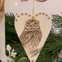 Owl Heart Decoration, Christmas Decoration