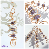 Christmas Decorations, Set of 3 Purple Crystal Spirals