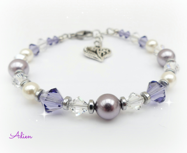 Purple Bracelet with Swarovski ™ Crystals and Pearls