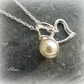 Heart Necklace with Pearl, Sterling Silver
