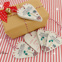 Wooden Christmas Gift Labels, Set of 5