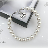 Pearl Bracelet with Swarovski™ Pearls, Choice of Charms, Gift Boxed