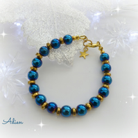 SALE Blue & Gold Haematite Bracelet