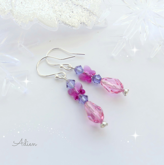 Pink Butterfly Earrings with Swarovski™ Sterling Silver