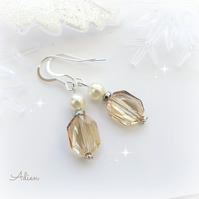 Champagne Crystal Earrings with Swarovski™ Sterling Silver