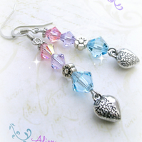 Pink and Blue Heart Earrings with Swarovski™ Sterling Silver