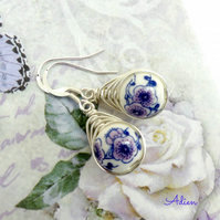 Purple Porcelain Earrings Sterling Silver