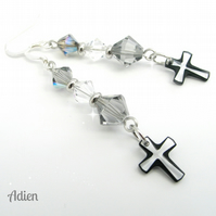 Black and White Cross Earrings, Swarovski ™ Crystal Sterlng Silver