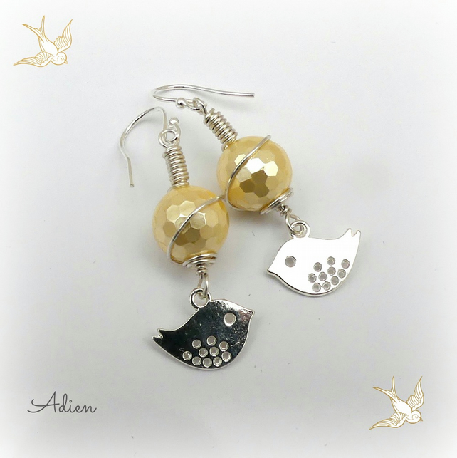 Yellow Shell Pearl Bird Earrings