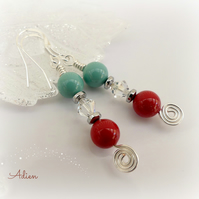 Red and Turquoise Swarovski™ Pearl Earrings