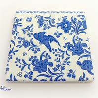 Blue and White Coaster Ceramic