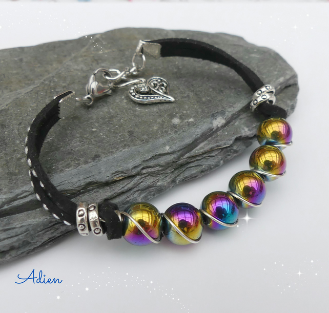 SALE Rainbow  Haematite and Pink Cord Bracelet