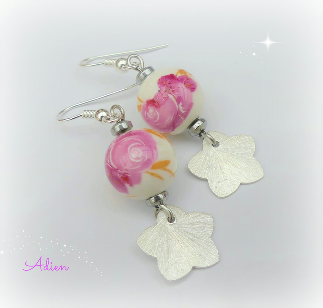Pink Ceramic Earrings January Offer