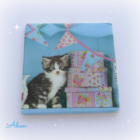 Cat and Bunting Coaster Ceramic