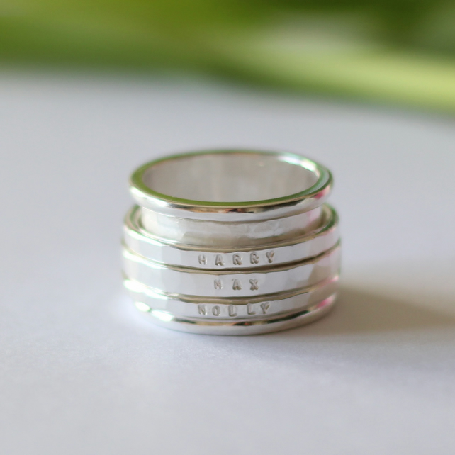 Sterling Silver Chunky Personalised Spinning Ring Folksy