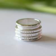 Sterling Silver Chunky Personalised Spinning Ring