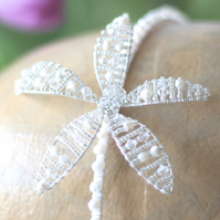 Wedding Hair Accessory with Swarovski Crystal & Pearls - Olivia