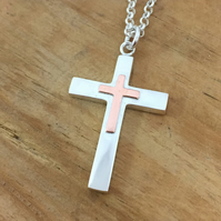 Sterling Silver Cross Pendant with Copper Detail and Chain