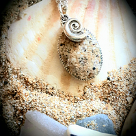 Watergate Bay beach sand filled pendant necklace