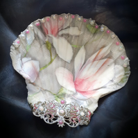 Decoupaged Magnolia Flower Scallop Shell Trinket dish