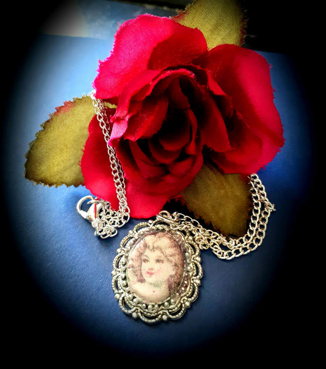 Vintage Girl Decoupaged Cameo pendant necklace