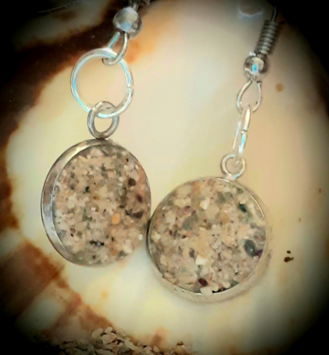 Porth Beach sand filled drop earrings