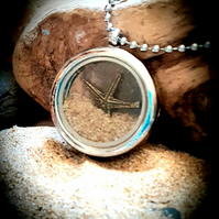 Memory Locket with Mawgan Porth sand and starfish charm  pendant necklace