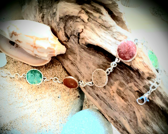 Watergate Bay coloured beach sand filled bezels  charm bracelet