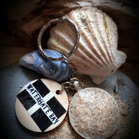 Watergate Bay beach sand filled  bezel key ring