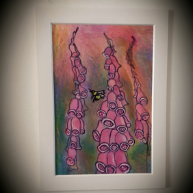 Foxgloves and Bumble bee original mounted coloured drawing