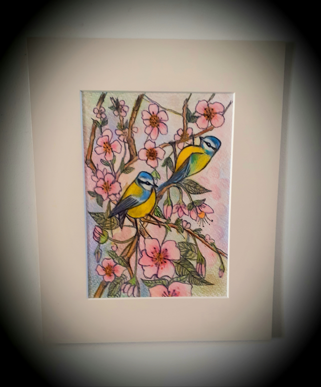 Springtime . ..featuring blue tits and cherry blossom. mounted coloured drawing