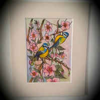 Springtime .   original mounted coloured drawing