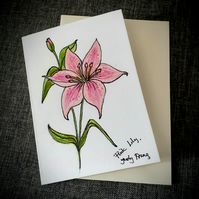 Hand drawn pink lily  flower card