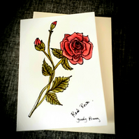 Hand drawn red rose flower card