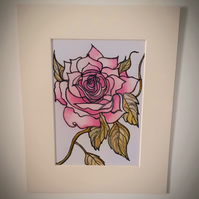 Pink rose mounted original coloured pencil  drawing