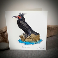 Hand drawn cormorant coastal bird card