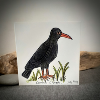 Hand drawn Cornish chough coastal bird card
