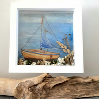 Framed Decoupaged Sailing Boat embellished with Cornish beach finds
