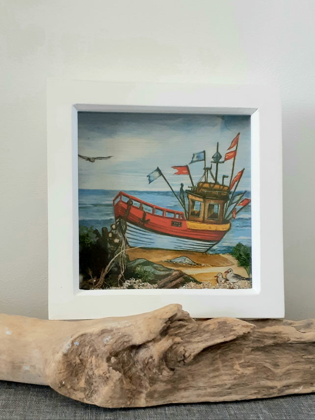 Framed Decoupaged Fishing Boat embellished with Cornish beach finds