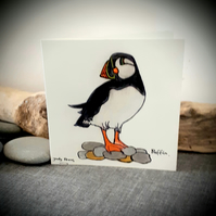 Hand drawn puffin coastal bird card