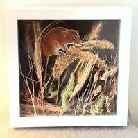 """Harvest""  ..Framed  harvest mouse acrylic painting with real  dried grasses"