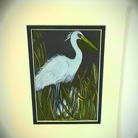 """Little Egret and baby Egret ""  mounted drawing"