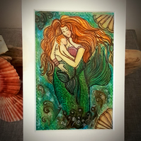 """Mermaid and baby ""  mounted  coloured drawing"